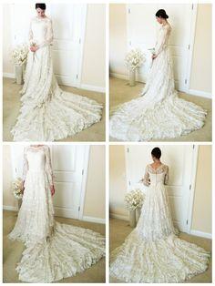 Vintage Lace Wedding Dress Mid Century Long Sleeve by Haalandia, $648.00