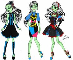 Frankie Stein- Fashion Set pt by PersephoneKat on DeviantArt Monster High School, Monster High Art, Monster High Characters, Custom Monster High Dolls, Custom Dolls, American Dad, American Horror, Vampire Kiss, Cartoon Styles