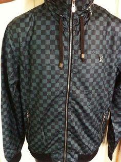 New Louis Vuitton BOMBER Damier Jacket BlaCK Size XL T Shirt Men 1495