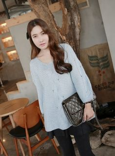 [MIAMASVIN] CABLE KNIT TOP WITH ROUND NECKLINE