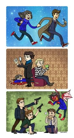 SuperWhoLock... Just love how they give Sam moose antlers! LOL!