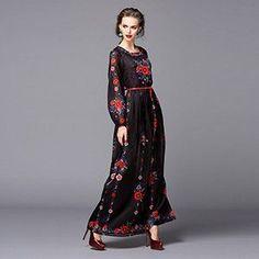 Puff Sleeve Floral Print Vintage Long Dress
