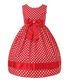 Love this Red Polka Dot Bow Dress - Toddler & Girls on #zulily! #zulilyfinds