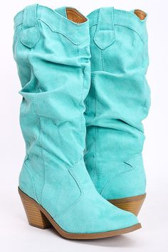 MINT FAUX SUEDE RUCHED WESTERN LOW CHUNKY HEEL BOOTS