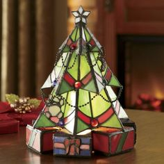 Stained Glass Christmas Tree Lamp from Seventh Avenue ® Stained Glass Light, Stained Glass Angel, Stained Glass Ornaments, Stained Glass Christmas, Stained Glass Designs, Stained Glass Projects, Stained Glass Patterns, Glass Christmas Ornaments, Stained Glass Windows