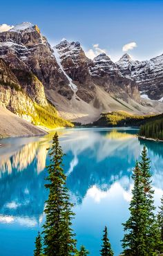 Canadian Rockies Tour from Gate 1 Travel. Price per Person Based on Double Occupancy (Buy 1 Groupon/Person). - Gaze at the snowy mountain peaks of the Canadian Rockies during a tour - All Nature, Amazing Nature, Beautiful Places To Visit, Beautiful World, Landscape Photography, Nature Photography, Travel Photography, Snowy Mountains, Canadian Rockies