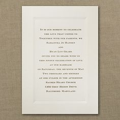 Your invitation will portray the classic tradition that comes with this triple panel ecru card.