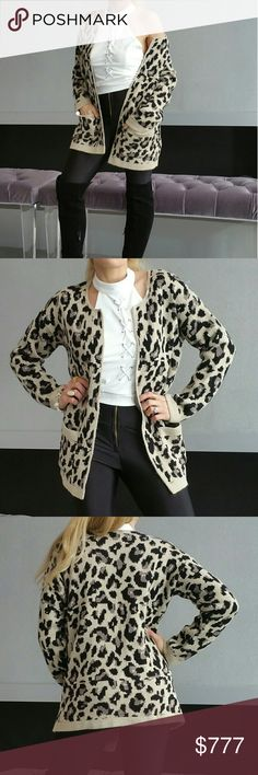 """Leopard print cardigan NWOT Made in the U.S.A Brand new no tags Price is firm   Sassy leopard print open front knit cardigan with pockets. Pair over a dress with booties or with jeans, a sassy top and heels. Warm and cozy!!   Size medium  Length 27"""" Bust 21"""" Material 100%acrylic   Sweaters Cardigans"""