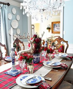 blue willow christmas tablescape - Google Search