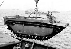 LVT Buffalo Being Lowered into Water off Okinawa's Orange Beach 1945 Ww2 Pictures, Historical Pictures, Battle Of Tarawa, War Of The Pacific, Soldier 10, Ww2 Tanks, Usmc, Marines, Orange Beach