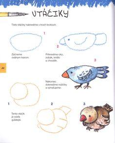 Nauč sa kresliť (M. Art Drawings For Kids, Bird Drawings, Doodle Drawings, Drawing For Kids, Easy Drawings, Animal Drawings, Art For Kids, Painting Lessons, Art Lessons