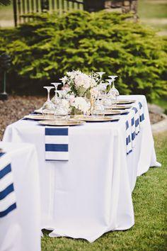 Navy and white striped wedding decor
