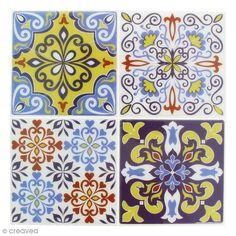 Stickers Mosaïque - Carré - Jaune bleu et blanc - 12 x 12 cm - 4 pcs
