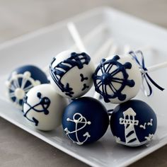 Cute idea for your nautical theme wedding. Serve these nautical cake pops!
