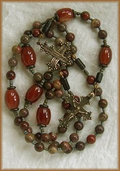 still stone and moss, prayer bead art: Peacemakers' Harvest Carnelian and Jasper Handmade Rosary