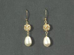 Bridal Drop Earrings Gold Bridal Earrings Pearl by plumbcrazy
