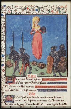 Minerva, inventor of armour, gives it to soldiers. The Hague, KB, 74 G 27 .   Christine de Pisan, L'Epistre d'Othea Auvergne(?); c. 1450-1475