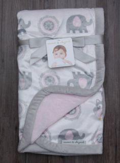 Blankets & Beyond Soft Baby Blanket ~ Elephants & Owls ~ Gray, Pink & White ~ #Blankets&Beyond #BabyGirl