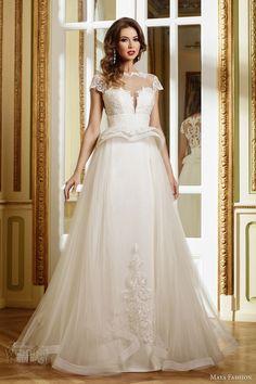 maya fashion 2015 limited bridal collection e05 cap sleeve full aline wedding dress illusion neckline structured peplum