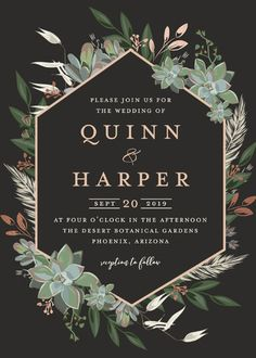 """""""Succulent Surround"""" - Rustic, Floral & Botanical Foil-pressed Wedding Invitations in Tuxedo by Susan Moyal."""