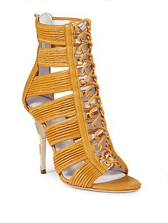 Balmain - Hope Metal Striped-Heel Lace-Up Leather Sandals Stylish Sandals, Sexy Sandals, Caged Sandals, Lace Up Sandals, Lace Up Heels, High Heels, Heeled Sandals, Tan Leather Sandals, Tan Shoes