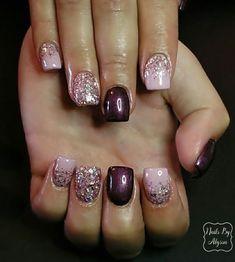Nailart Glitter, Glitter Fade Nails, Faded Nails, Glitter Nail Art, Cute Acrylic Nails, Pink Glitter, Gorgeous Nails, Pretty Nails, Pink Lila