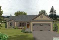 House Plan 92425 - Bungalow, Country Style House Plan with 1381 Sq Ft, 3 Bed, 2 Bath, 2 Car Garage Ranch House Plans, Dream House Plans, Small House Plans, House Floor Plans, Craftsman Style Homes, Ranch Style Homes, Country Style House Plans, Country Style Homes, Southern Style