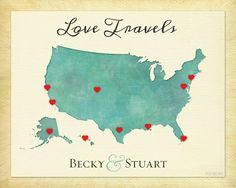 Custom Anniversary Gift Wedding Gift Couple Gift Travel Map - Us map pictures of couple