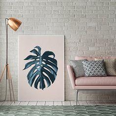 Monstera Blattdruck, botanischer Druck, Wanddekor, minimale Wandkunst, Aquarellkunst, Pflanzenillustration, tropisches Blattplakat, nordisches Design.