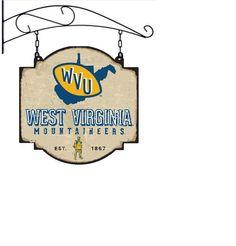 West Virginia University Mountaineers Vintage Tavern Sign West Virginia University, New England Patriots, Super Bowl, Banner, Sign, Hats, Vintage, Picture Banner, Supper Bowl