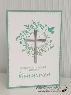 Card for communion, confirmation or confirmation, invitation or greeting card … – Invitation 2020 Invitation Design, Invitations, Congratulations Card, Stamping Up, Blessed, Card Making, Greeting Cards, Clock, Easter