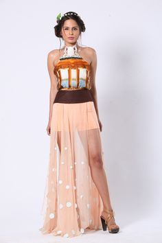 Printed dress with side high slit and cut work embellishment