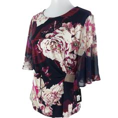 MSK Womens Floral Print Rhinestone Embellished Blouse Pullover Top Size  Large  MSK  Blouse Floral 17e31ae30
