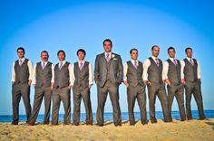 groomsmen in gray vests   Groomsmen grey vests and pants from Macy's. Ties from Tom ...   ~One ...