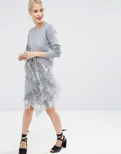 So pretty and perfect for parties and New Year's Eve! ASOS co-ord Knitted Skirt with Metallic Fringing - Silver ad