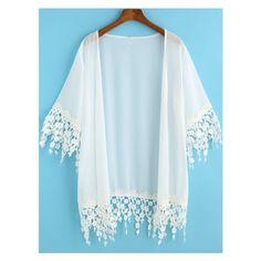 White Half Sleeve Lace Embellished Kimono ($7.99) ❤ liked on Polyvore featuring jackets and shirts