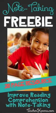 FREE Note-Taking Resource to Improve Reading Comprehension - Classroom Freebies Note Taking Strategies, Writing Strategies, Writing Activities, Language Activities, Stem Activities, Teacher Freebies, Classroom Freebies, Special Education Classroom, Classroom Ideas