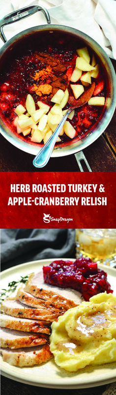 Apple Cranberry Relish – a must for every Thanksgiving table. With so much savory going on, this slightly sweet mostly tart side dish not only adds balance to our tastebuds, it's pretty and it's simple. Entree Recipes, Dinner Recipes, Herb Roasted Turkey, Cranberry Relish, Roast Turkey Breast, Cooked Apples, Oh Deer, Thanksgiving Table, Apple Recipes