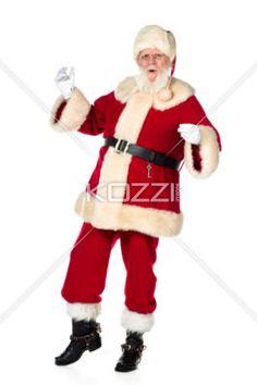 portrait image of santa claus dancing. - Portrait shot of Father Santa Claus dancing against white background. Model: Larry Lantz