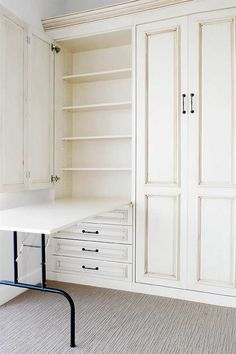 Genius! In craft room have shelves full of the craft supplies with a fold, down table. Then fold table back up and have cupboard door that shuts over it when you want the room to become the guest room!!!