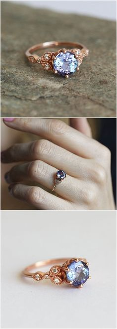 Tanzanite Engagement ring, Floral Engagement Ring, Leaf Engagement Ring, Blue Engagement Ring, Tanzanite Diamond Ring, Gold Tanzanite Ring