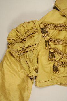Regency Silk Spencer Jacket. Front Shoulder Detail View. Circa 1819-1822.