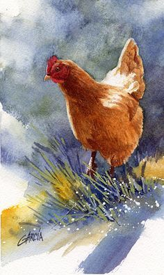 Joe Garcia   WATERCOLOR               Red Hen