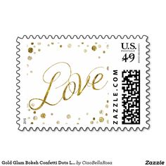 Gold Glam Bokeh Confetti Dots Love Stamp