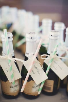 10 Whimsical Winter Wedding Seating Cards | Are you having a New Year wedding? The perfect way for your guests to find their seats might be with some celebratory champagne!
