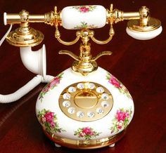 Porcelain Red Rose French Telephone