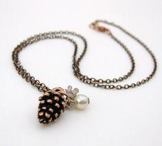 Vintage Charm Necklace Fall Flower Pine Cone Pearl Copper. $24.50, via Etsy-BunbershootDesigns