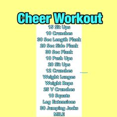 Favorite Cheerleading Playlist: Perfect Songs to Pump Up the Energy at Cheer Practice - Efe Ela Cheer Diet, Cheer Abs, Cheer Jumps, Cheerleading Stunts, Cheer Tryouts, Workouts For Cheerleaders, Dancer Workout, Gymnastics Workout, Workout Songs