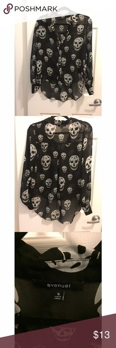 Sheer skull blouse Sheer skull design with gold buttons, slightly high low Necessary Clothing Tops Blouses