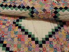 Vintage Quilt TOP 1930s Handmade POSTAGE STAMP Aunt Jen Charm 4,960 Pieces